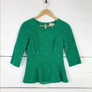 Anthropologie moulinette soeurs lace peplum blouse